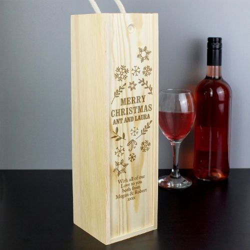 Personalised Christmas Wine Bottle Presentation Box